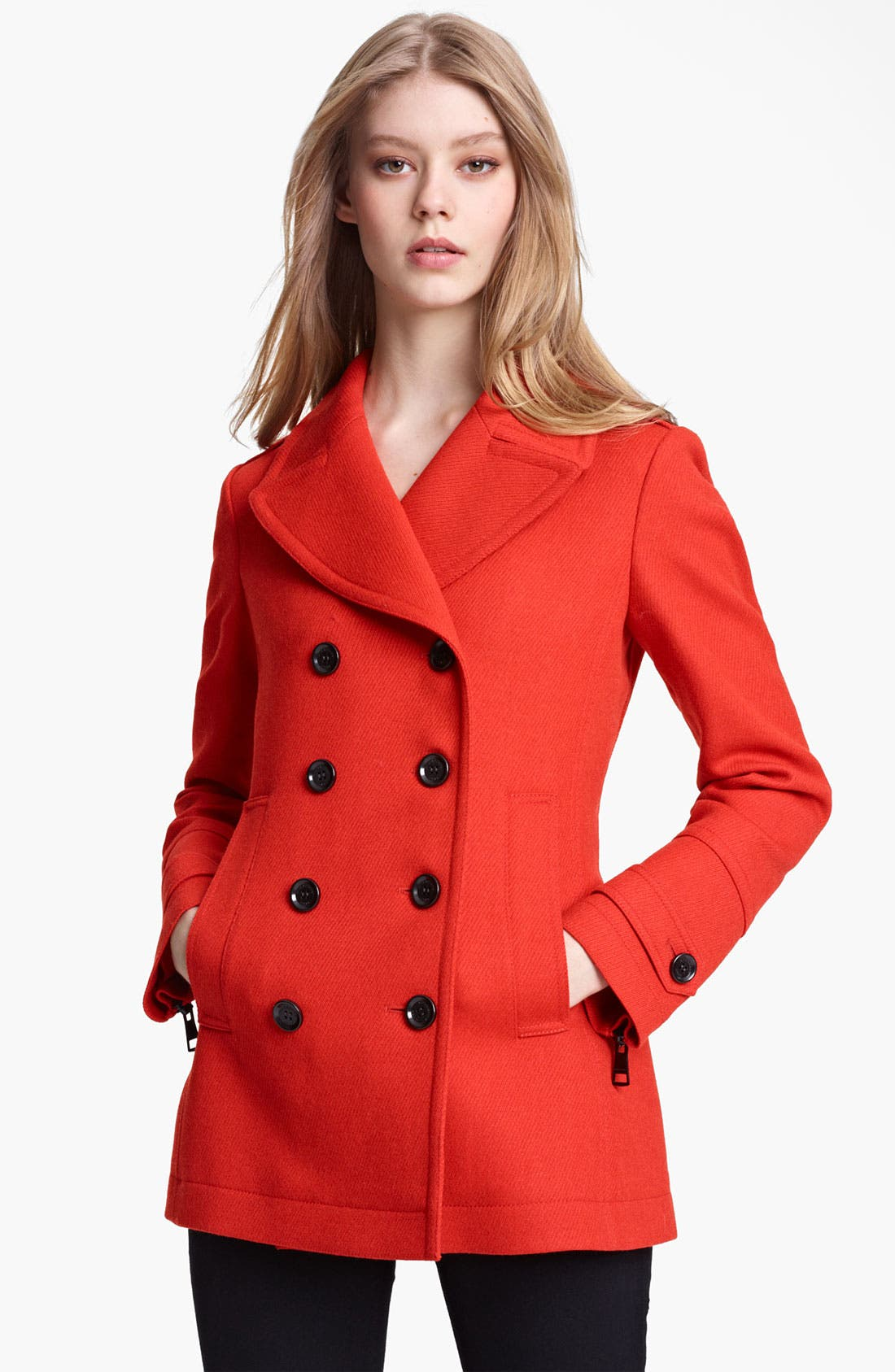 Alternate Image 1 Selected - Burberry Brit 'Fenstead' Double Breasted Wool Peacoat