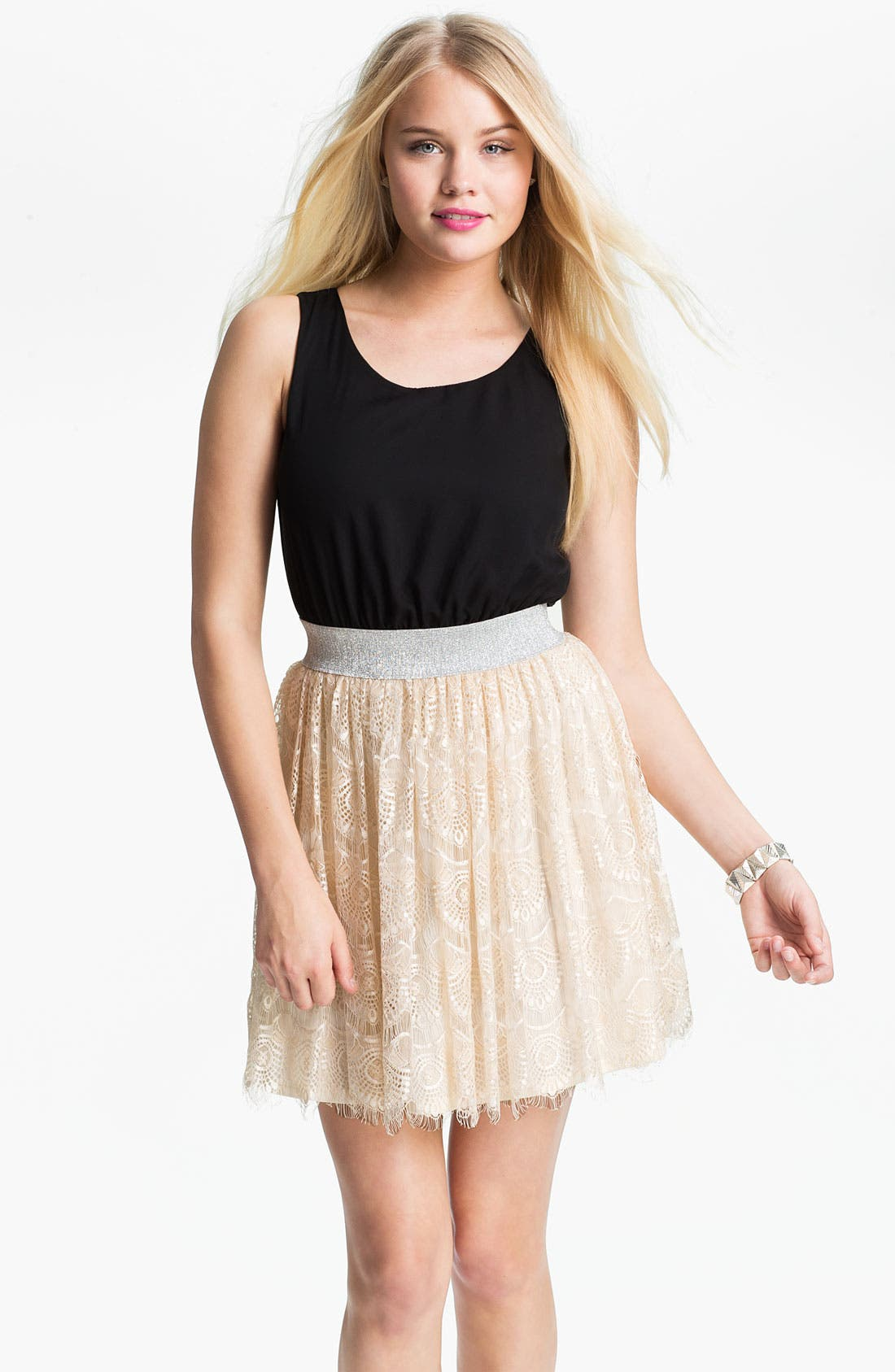 Alternate Image 1 Selected - As U Wish Lace Skirt Tank Dress (Juniors)