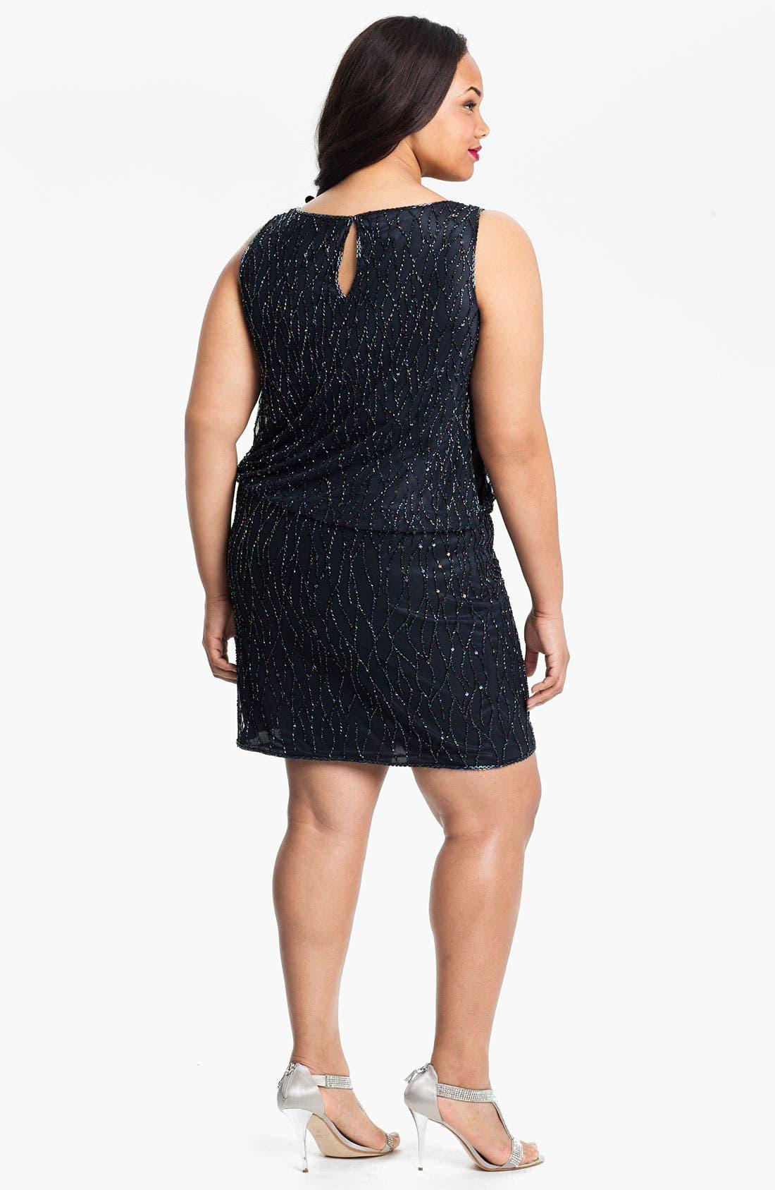 Alternate Image 2  - J Kara Sleeveless Beaded Blouson Dress (Plus)
