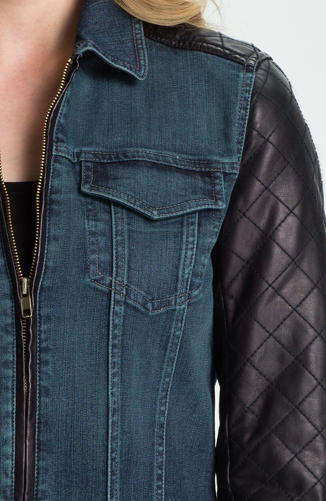 Alternate Image 3  - Isaac Mizrahi Jeans 'Kimberly' Mix Media Jacket (Online Exclusive)