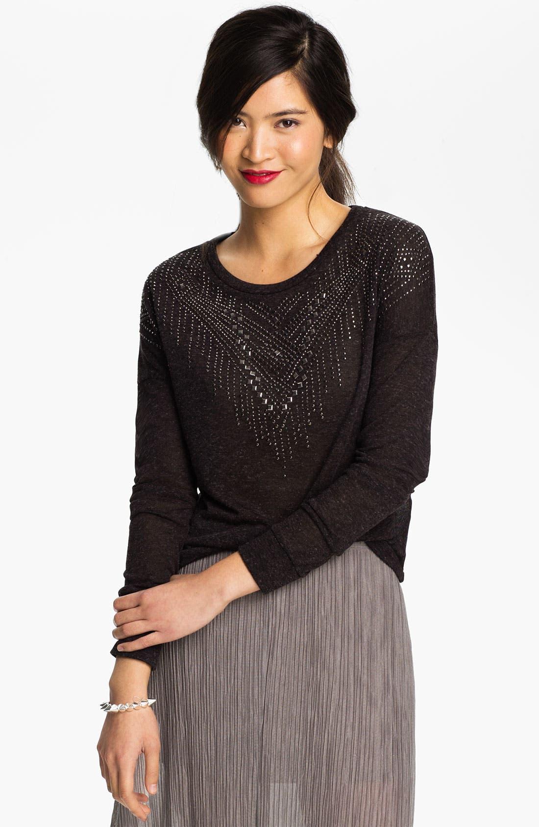 Alternate Image 1 Selected - Elodie Stud Embellished Top (Juniors)