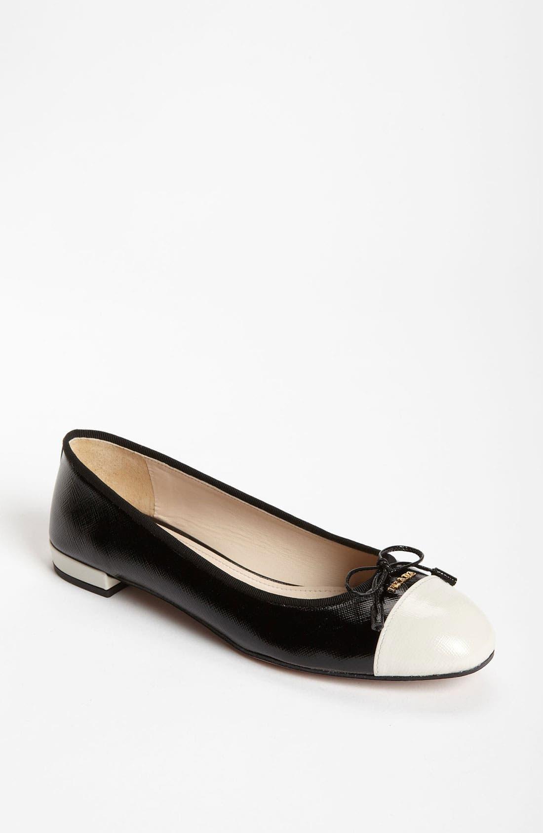 Alternate Image 1 Selected - Prada Cap Toe Ballet Flat