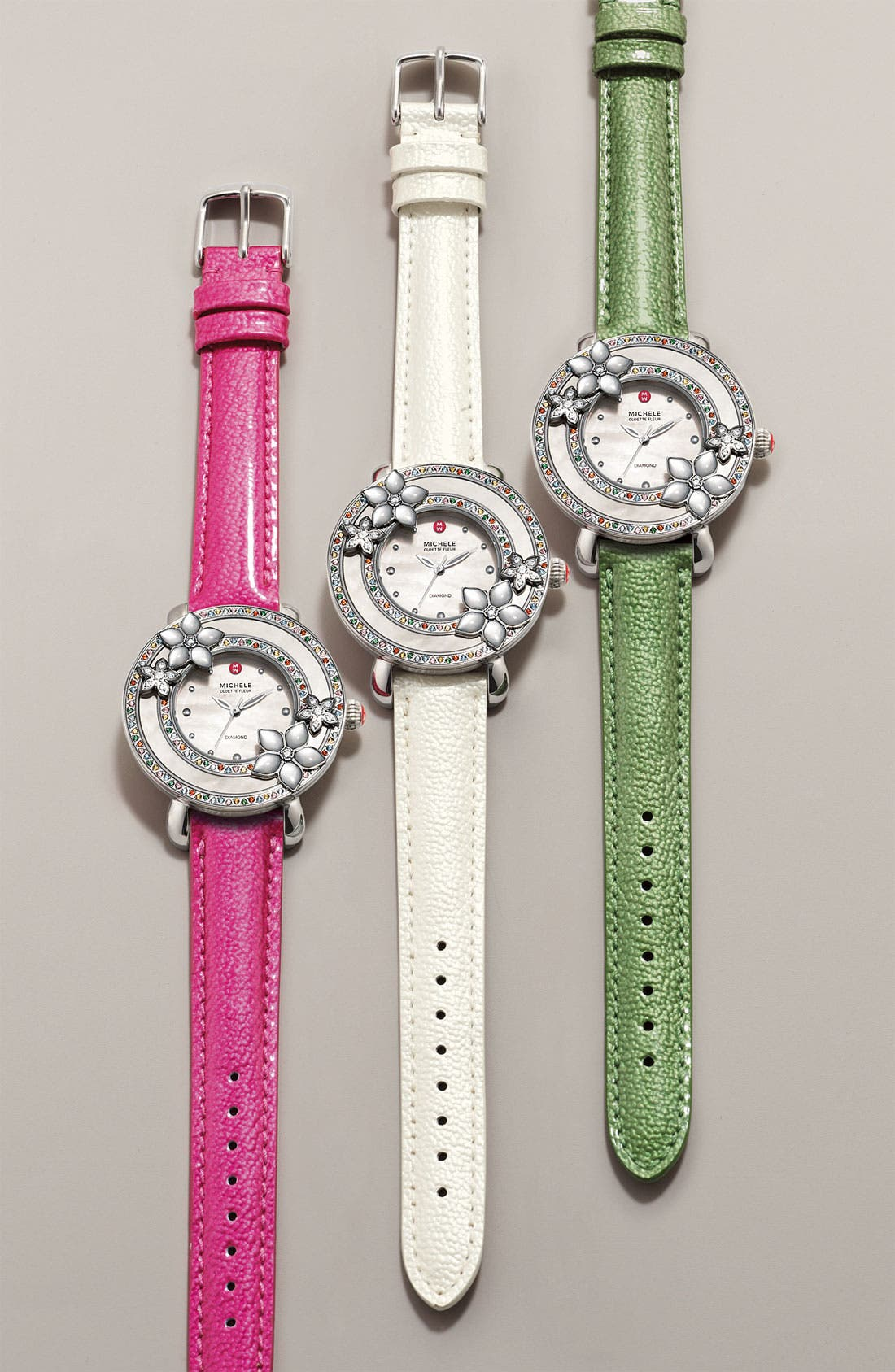 Alternate Image 5  - MICHELE 'Cloette Fleur' Colored Stone Watch Case, 38mm