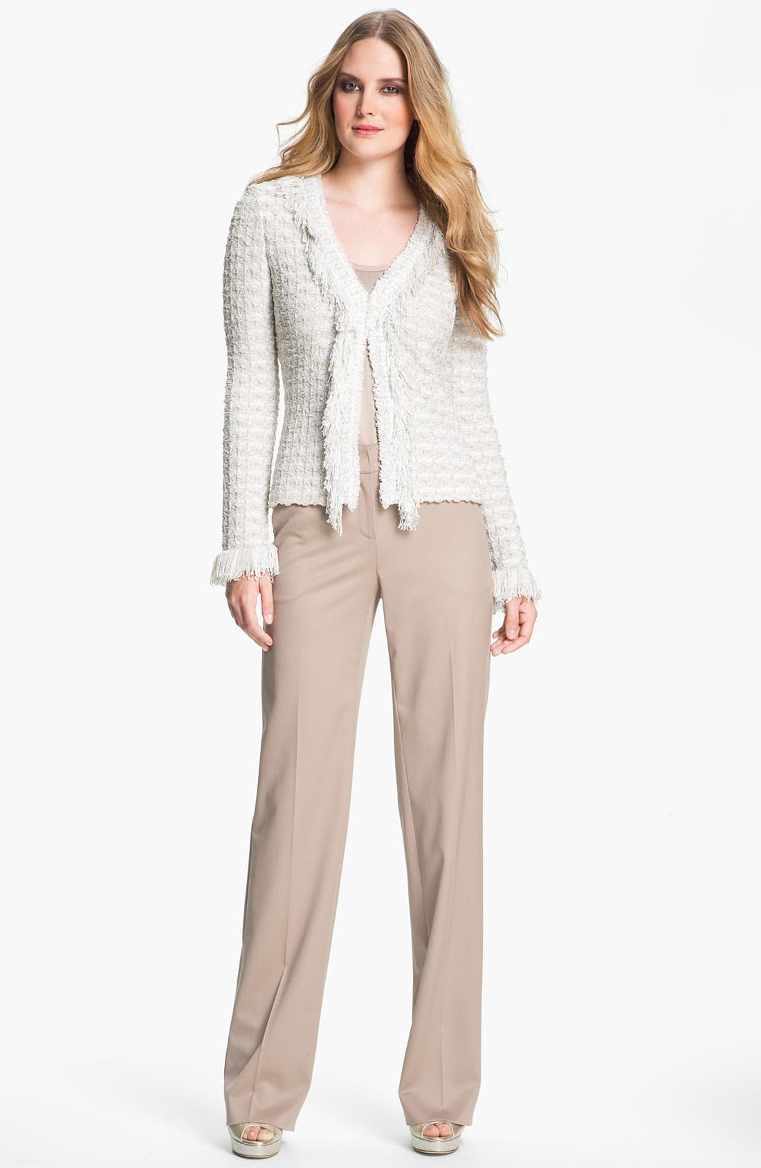 Main Image - St. John Collection Shredded Trim Tweed Jacket