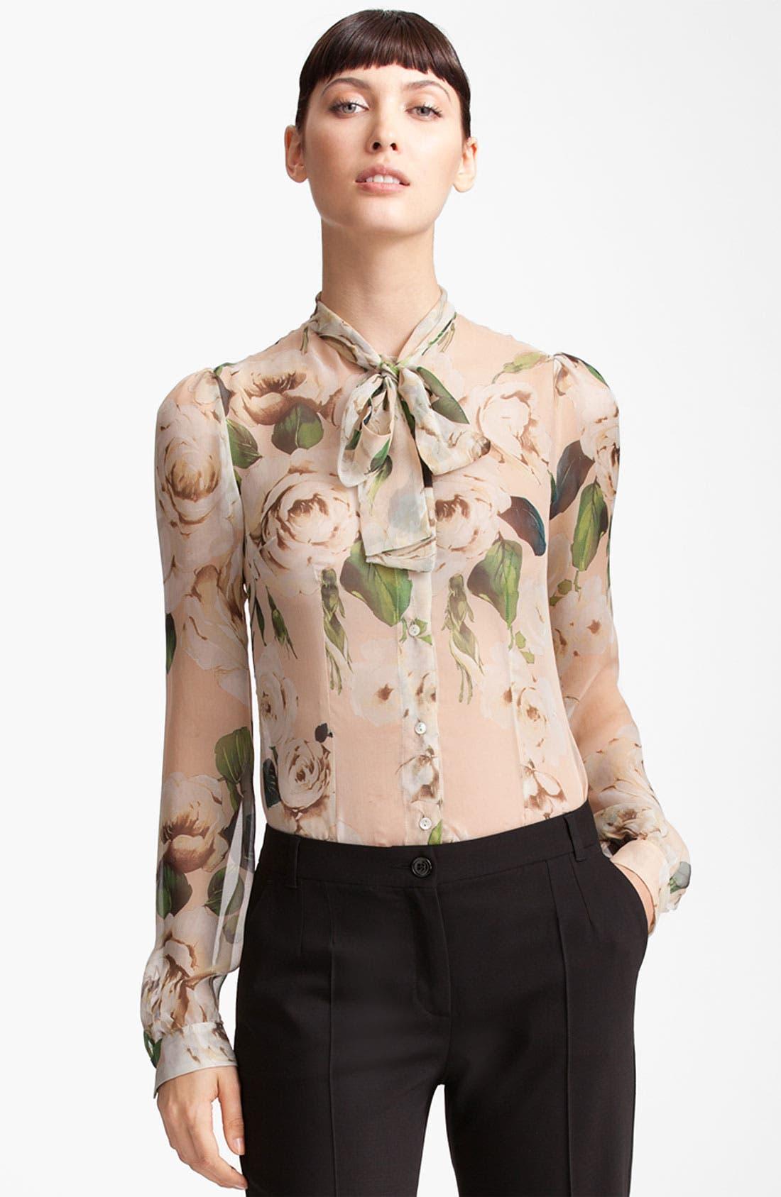 Main Image - Dolce&Gabbana Rose Print Chiffon Blouse