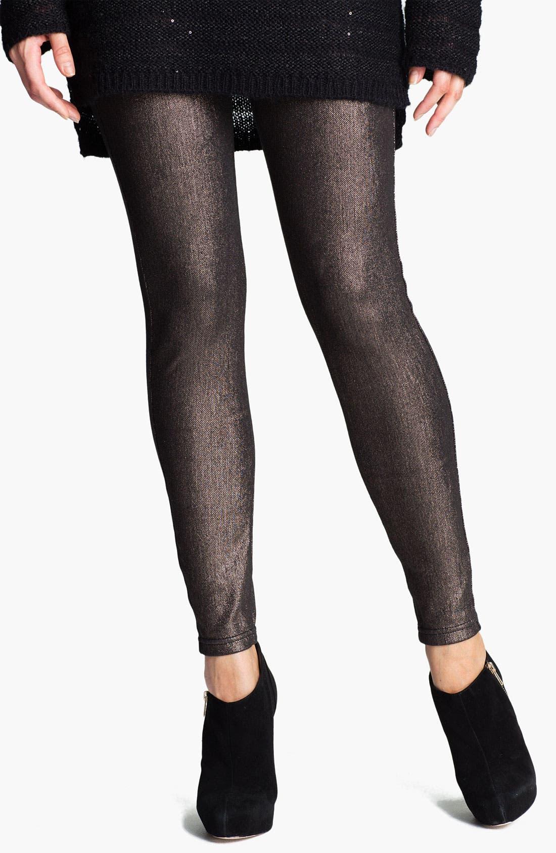 Alternate Image 1 Selected - Hue Foil Print Jeans Leggings