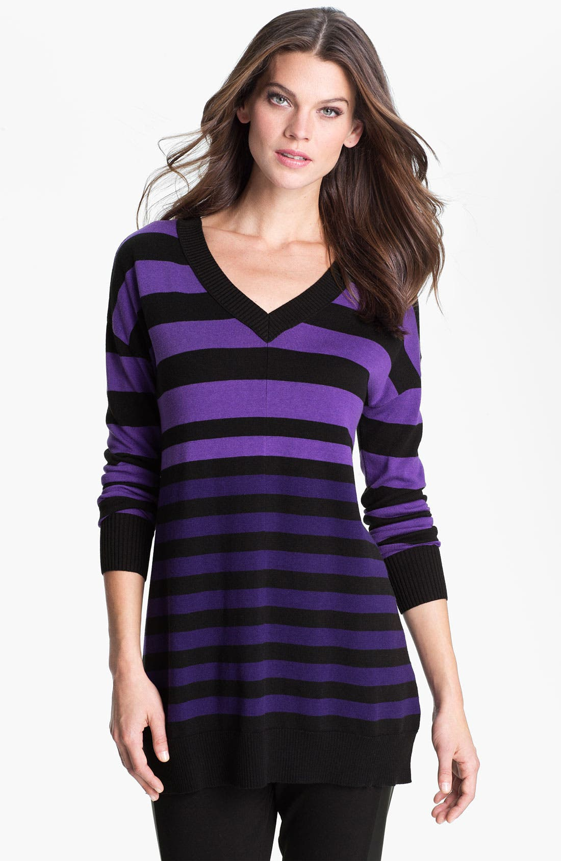 Main Image - Caslon Double V-Neck Tunic Sweater