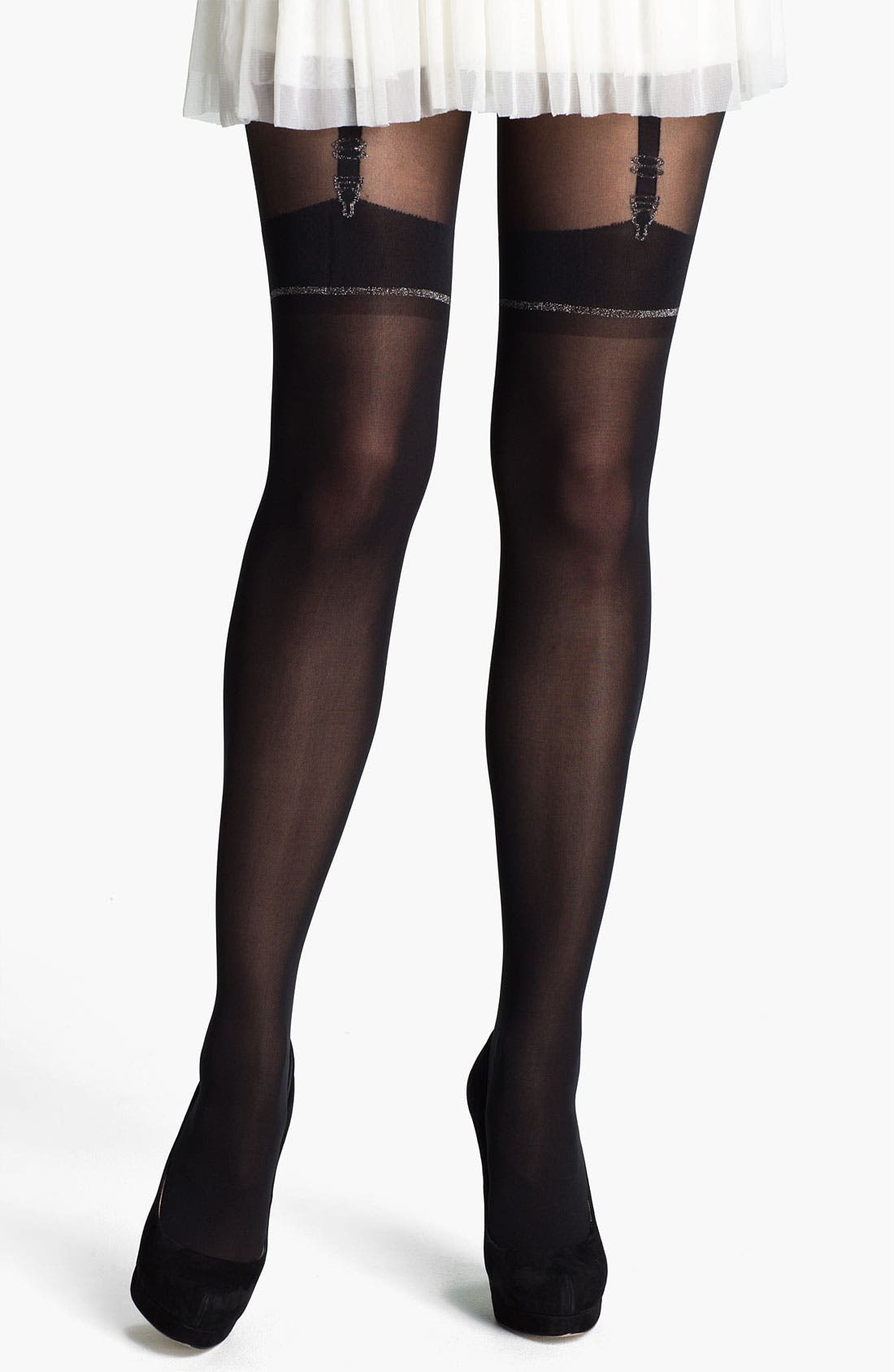 Main Image - Pretty Polly 'Stunning' Mock Suspender Tights