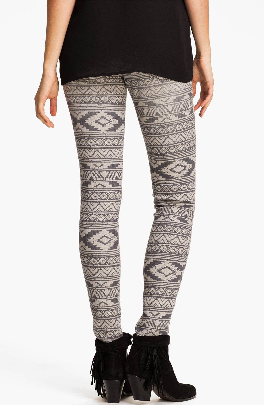 Main Image - Jolt Print Denim Skinny Jeans (Juniors)
