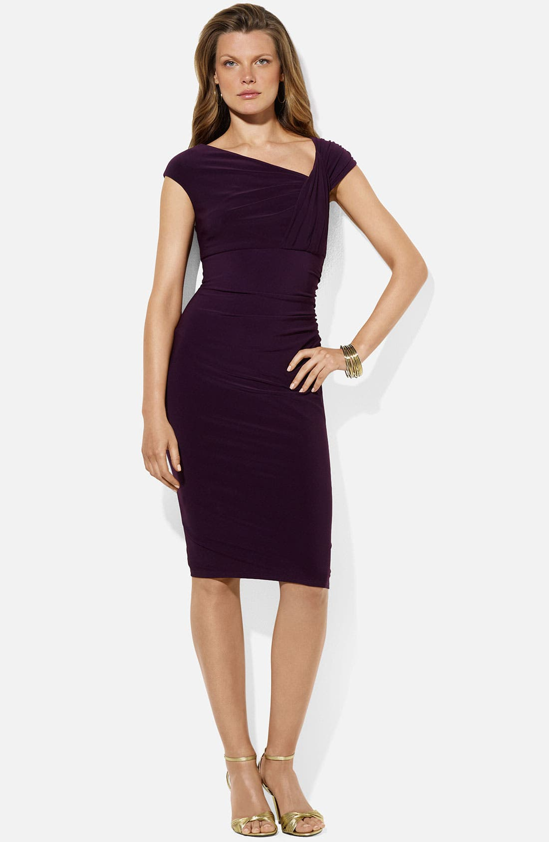 Alternate Image 1 Selected - Lauren Ralph Lauren 'Weller' Jersey Sheath Dress (Petite)