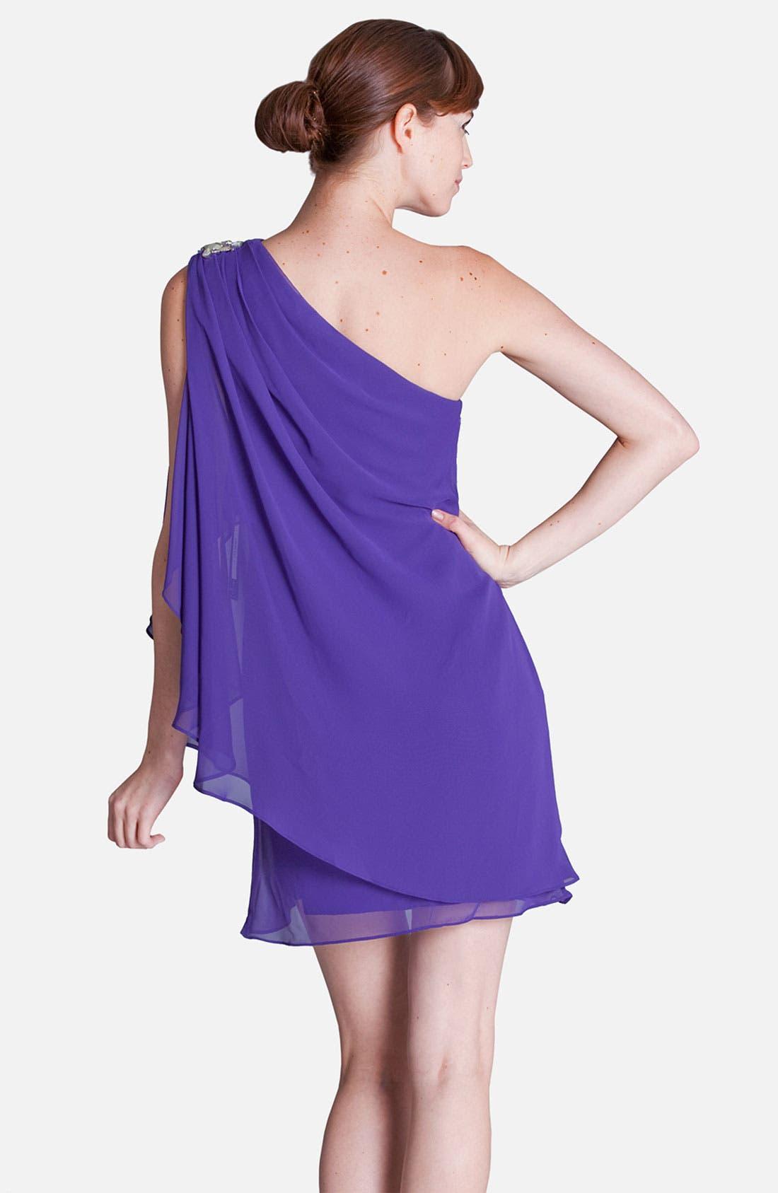 Alternate Image 2  - JS Boutique Embellished One Shoulder Draped Chiffon Dress