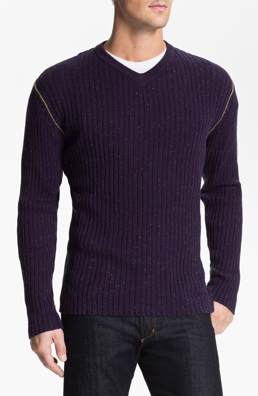 Alternate Image 1 Selected - Robert Graham 'Mir' Ribbed V-Neck Sweater