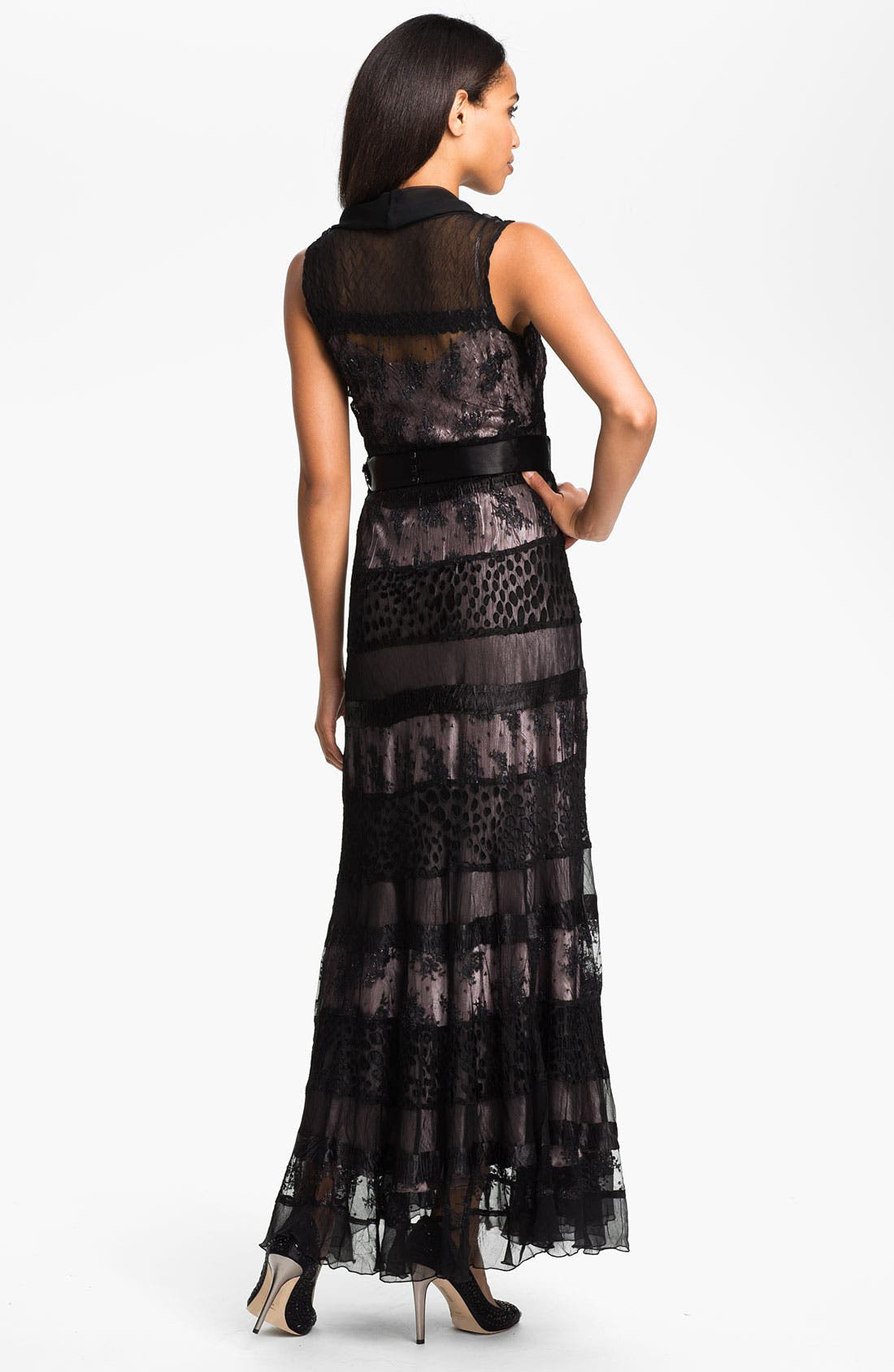 Alternate Image 2  - Black by Komarov V-Neck Tiered Mixed Media Gown