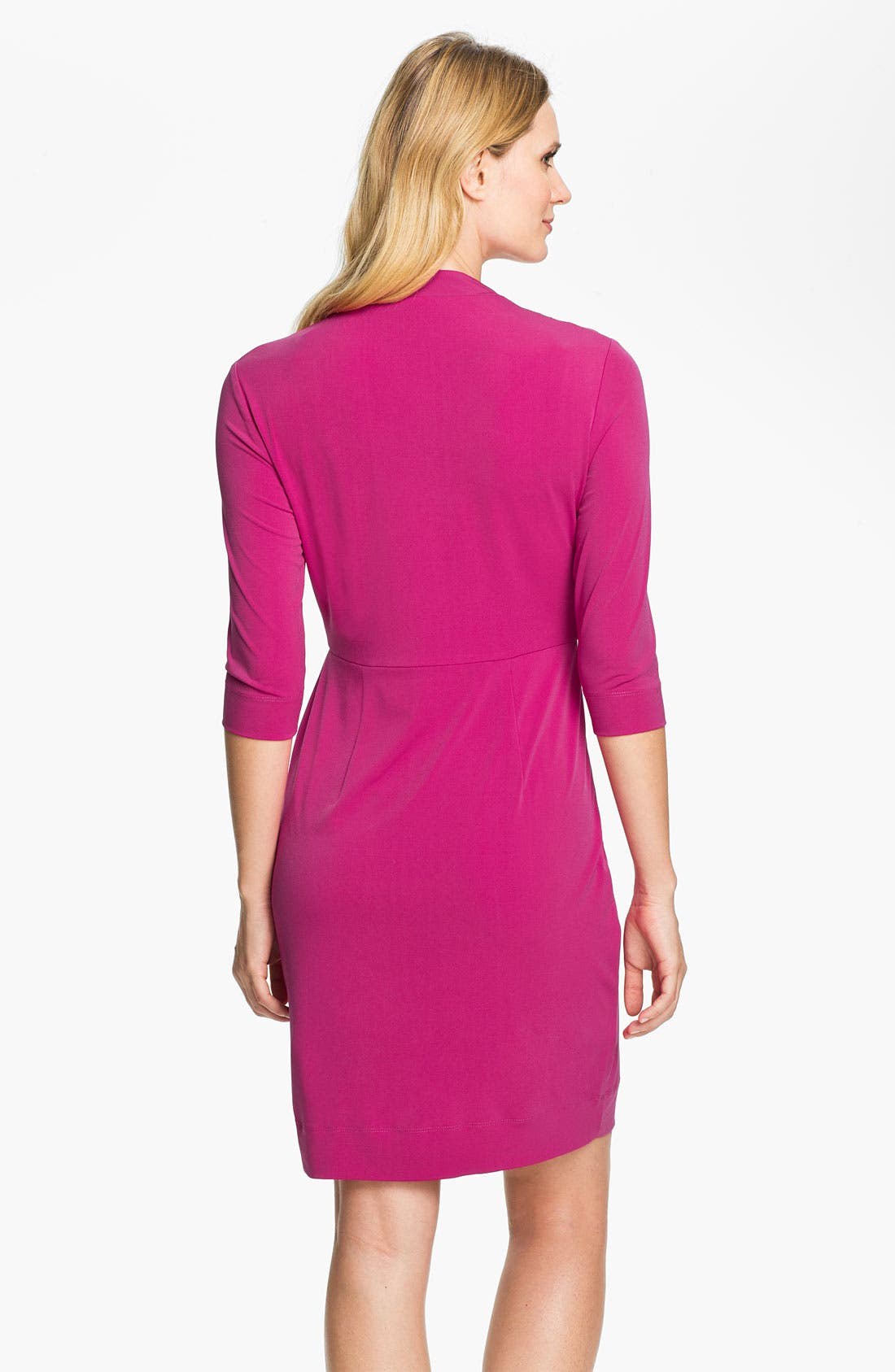 Alternate Image 2  - Donna Ricco Drape V-Neck Jersey Dress (Regular & Petite)