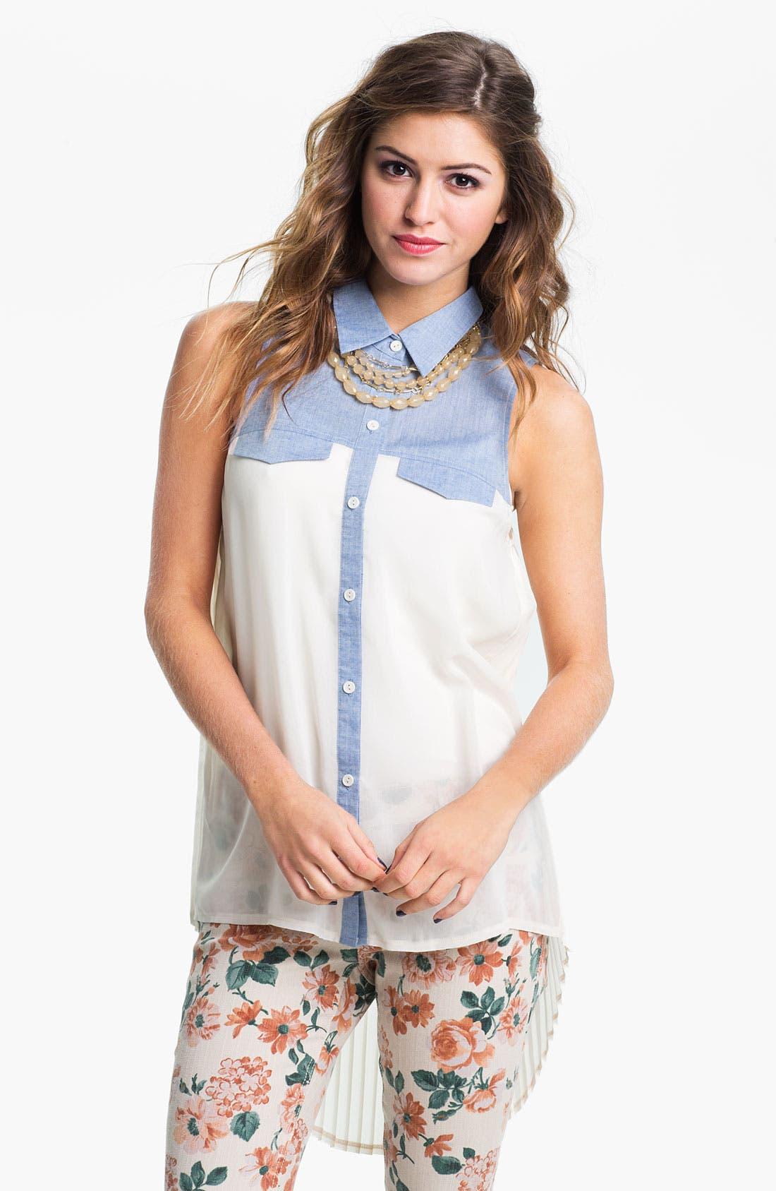 Alternate Image 1 Selected - Lush Chambray & Chiffon Shirt (Juniors)