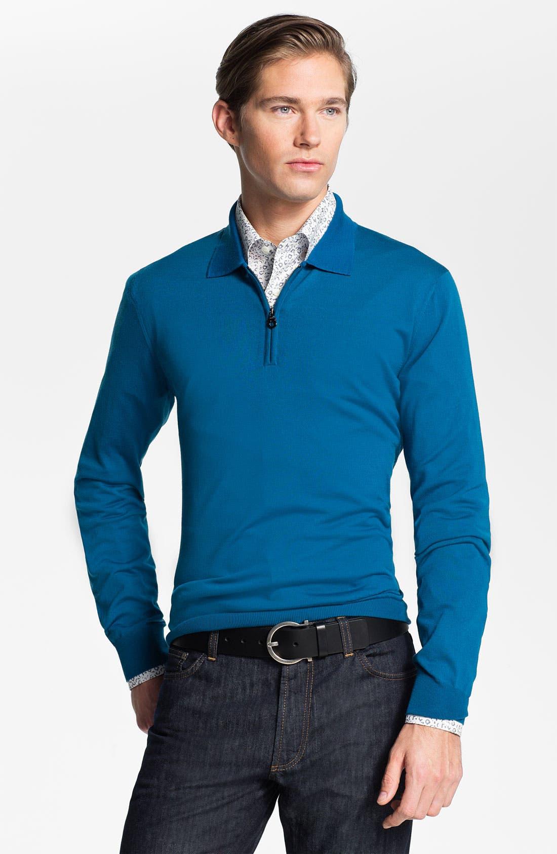 Main Image - Salvatore Ferragamo Half Zip Wool Sweater