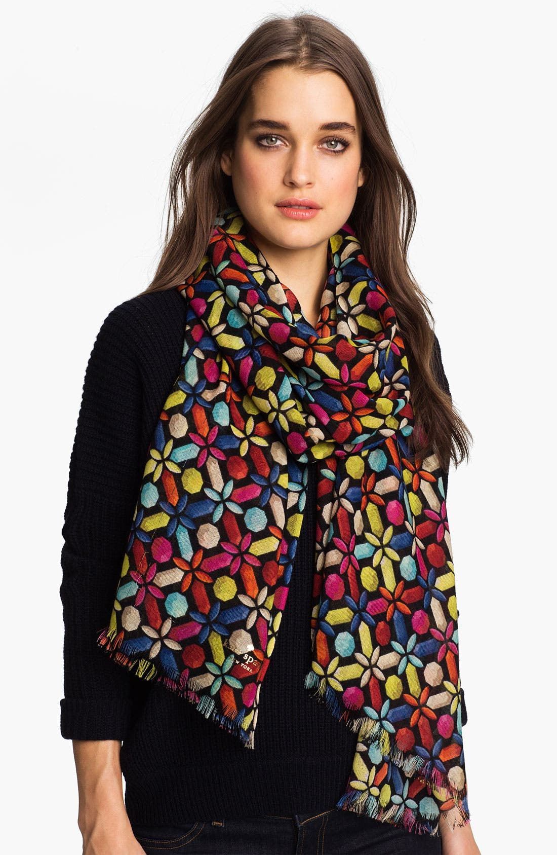 Main Image - kate spade new york 'kaleidoscope gems' wool scarf