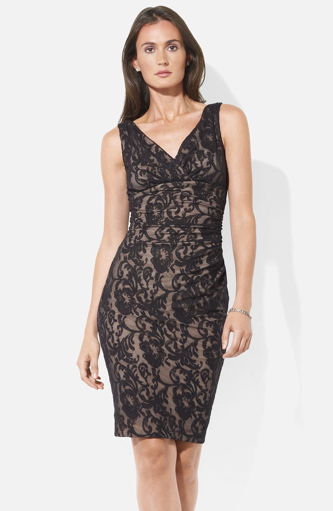 Alternate Image 1 Selected - Lauren Ralph Lauren V-Neck Lace Sheath Dress