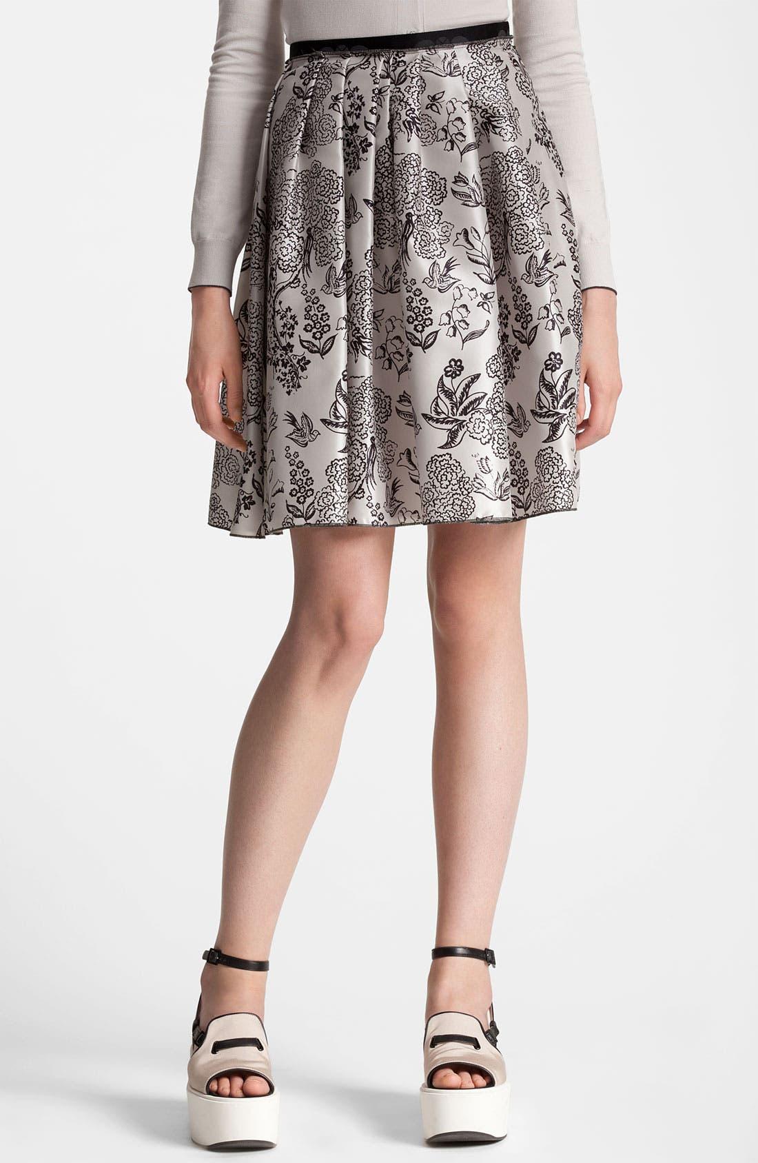 Main Image - Jil Sander Navy Nature Print Silk Skirt
