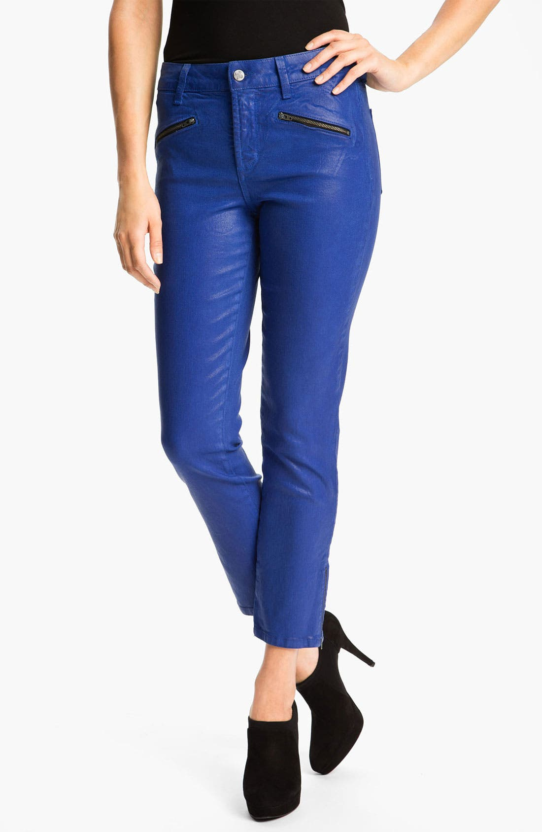 Main Image - NYDJ 'Angelina' Coated Zip Ankle Leggings (Petite)