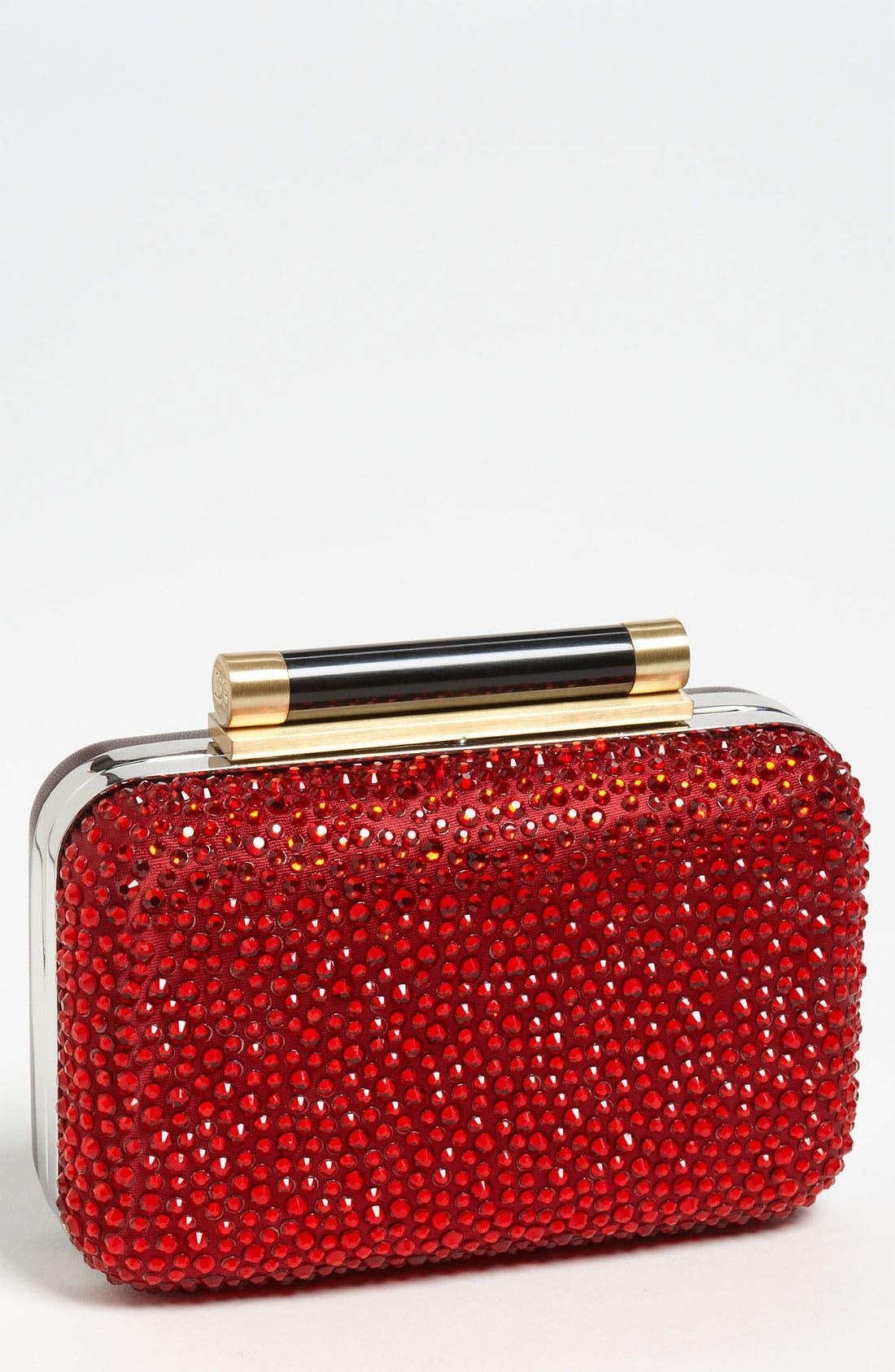 Main Image - Diane von Furstenberg 'Tonda - Small' Crystal & Leather Clutch