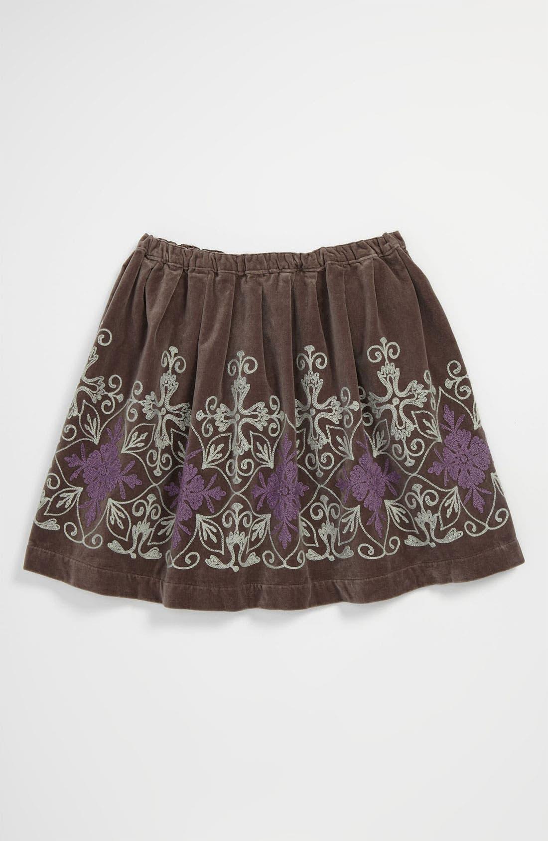 Alternate Image 1 Selected - Peek 'Frida' Embroidered Velvet Skirt (Toddler, Little Girls & Big Girls)