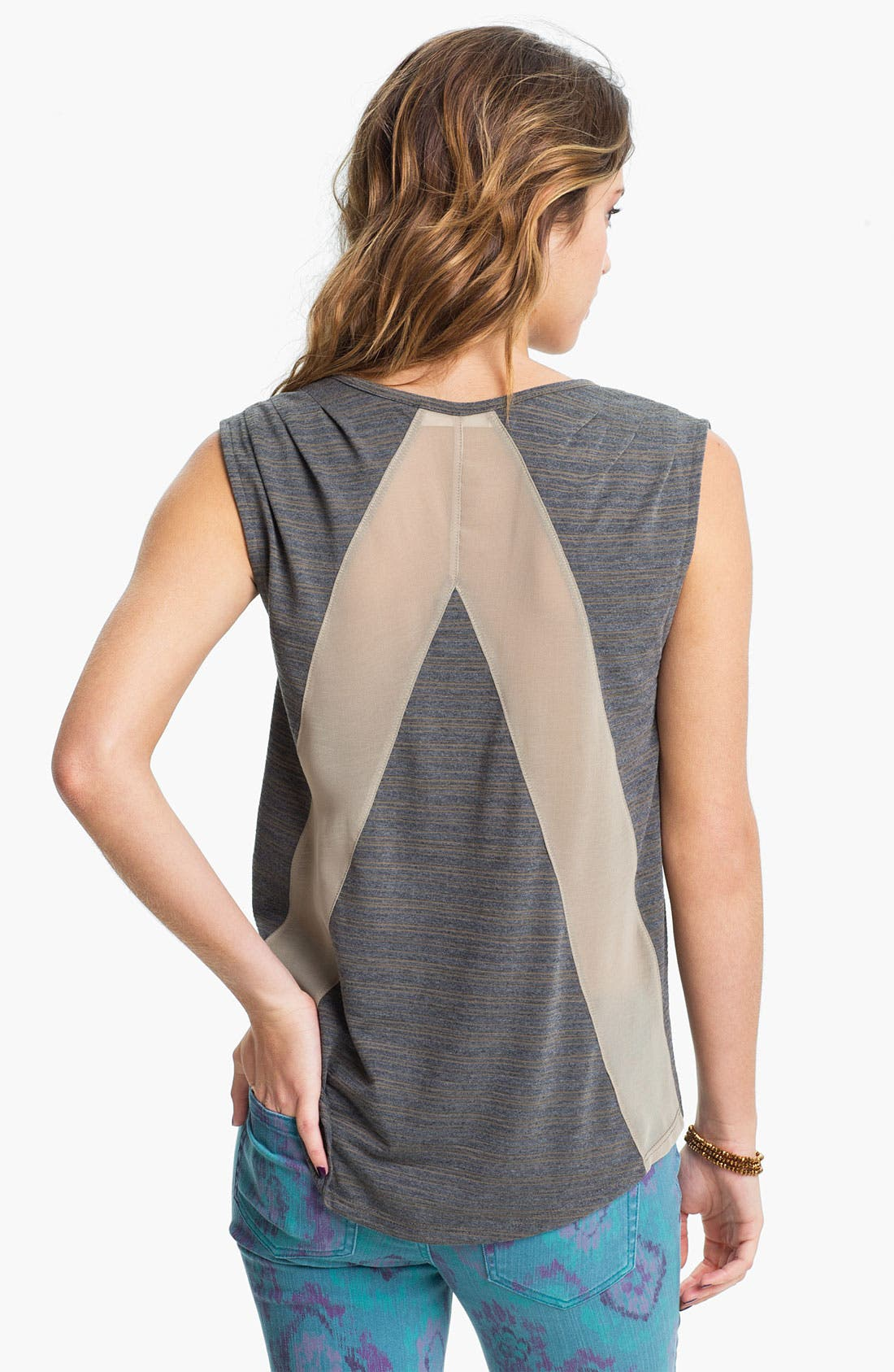 Alternate Image 2  - Painted Threads Studded Chiffon Panel Tank (Juniors)