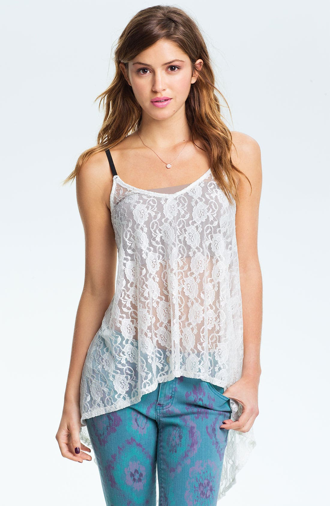 Alternate Image 1 Selected - Mimi Chica High/Low Lace Camisole (Juniors)