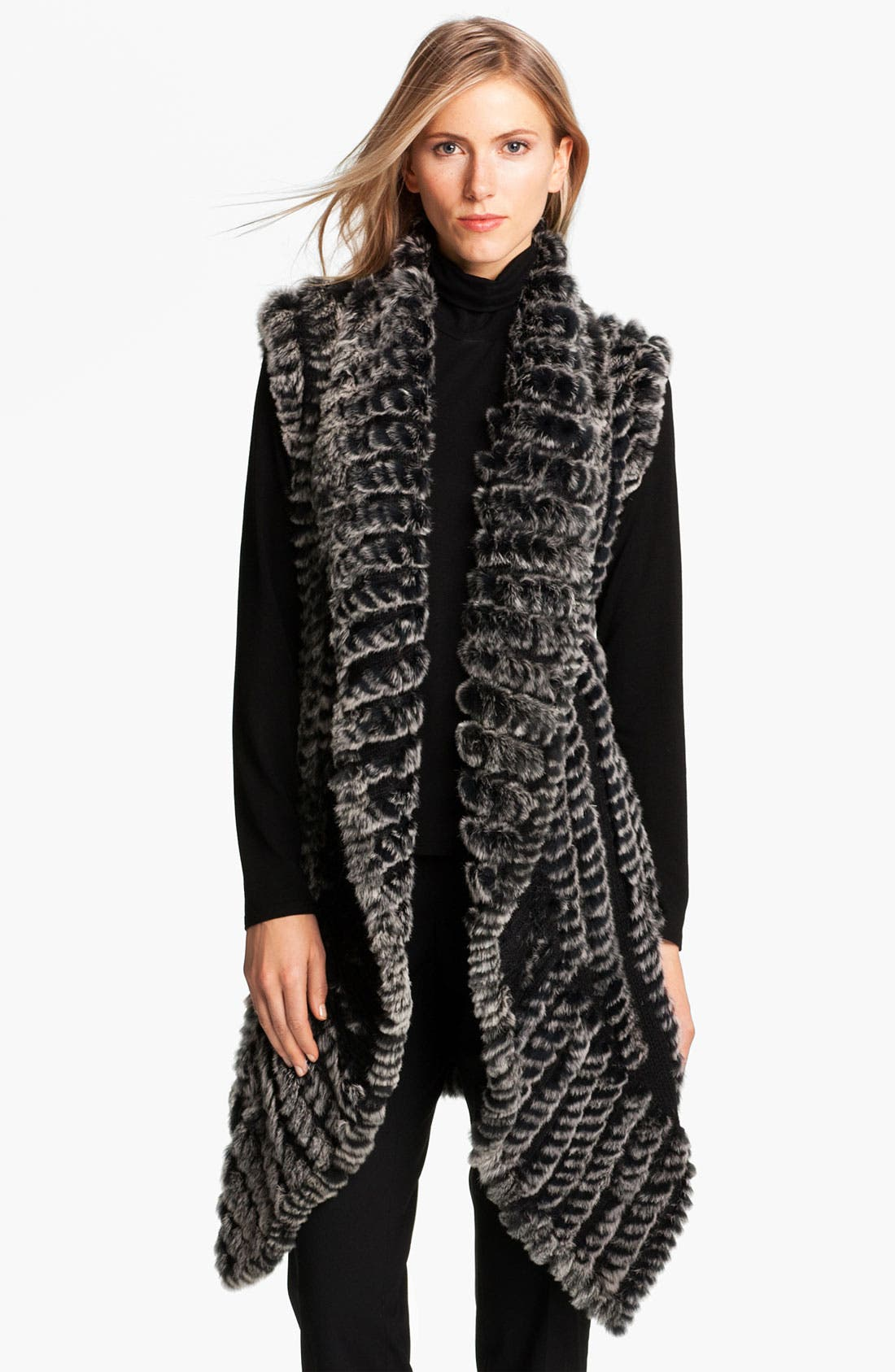 Alternate Image 1 Selected - Alberto Makali Knit & Genuine Rabbit Fur Vest