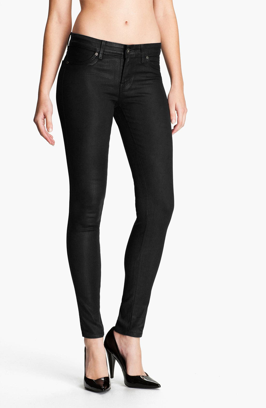 Main Image - Rich & Skinny 'Legacy Leather' Faux Leather Skinny Jeans (Tar)
