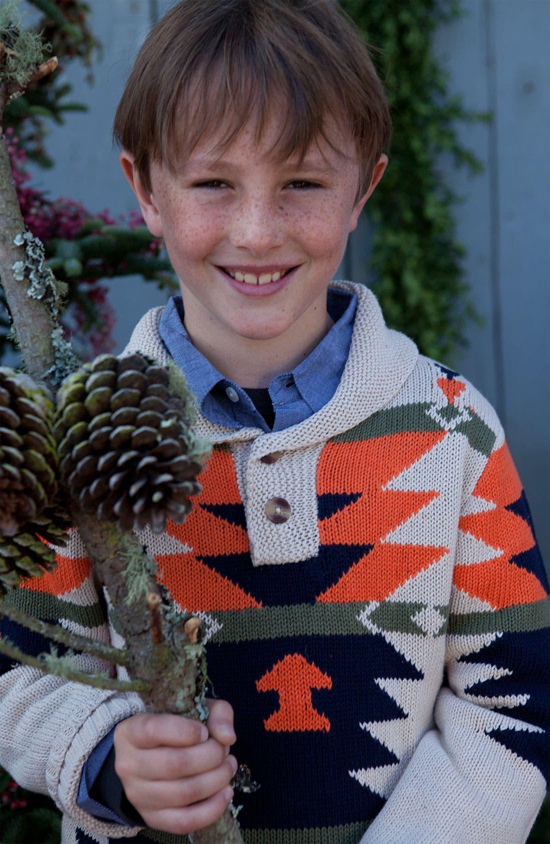 Alternate Image 2  - Peek 'Arroyo' Shawl Collar Sweater (Toddler, Little Boys & Big Boys)
