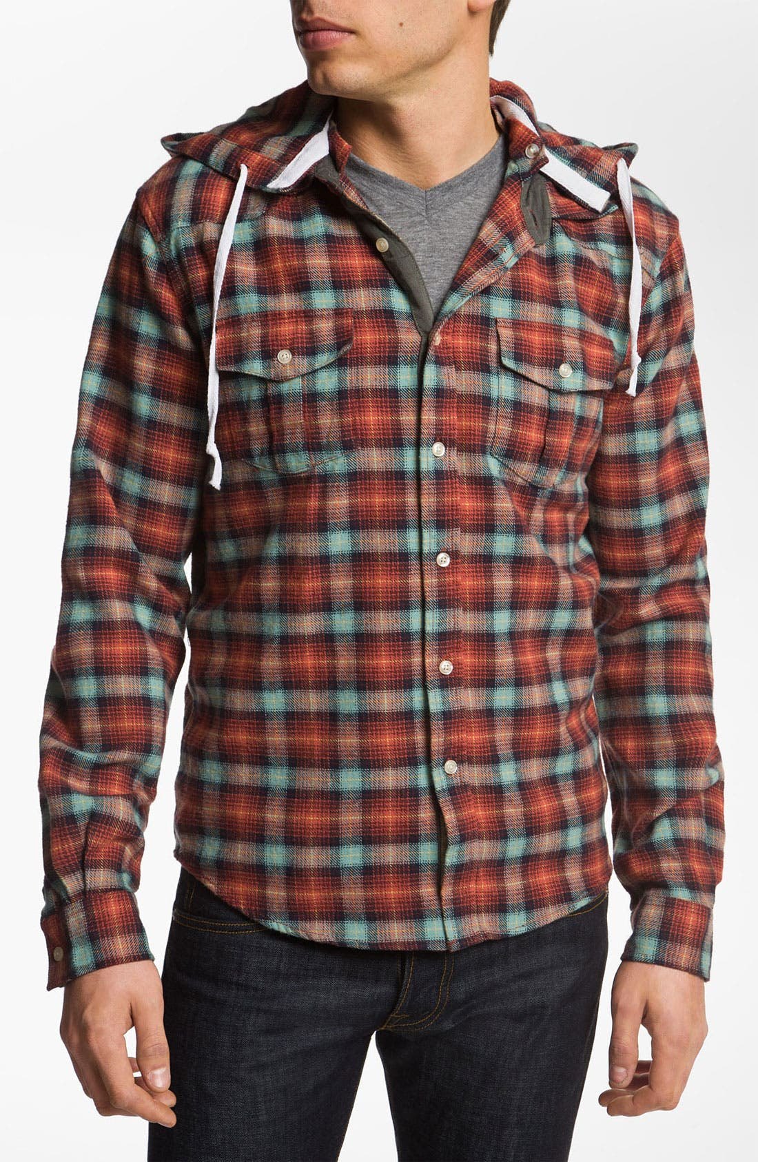 Alternate Image 1 Selected - Just A Cheap Shirt Button Down Flannel Hoodie