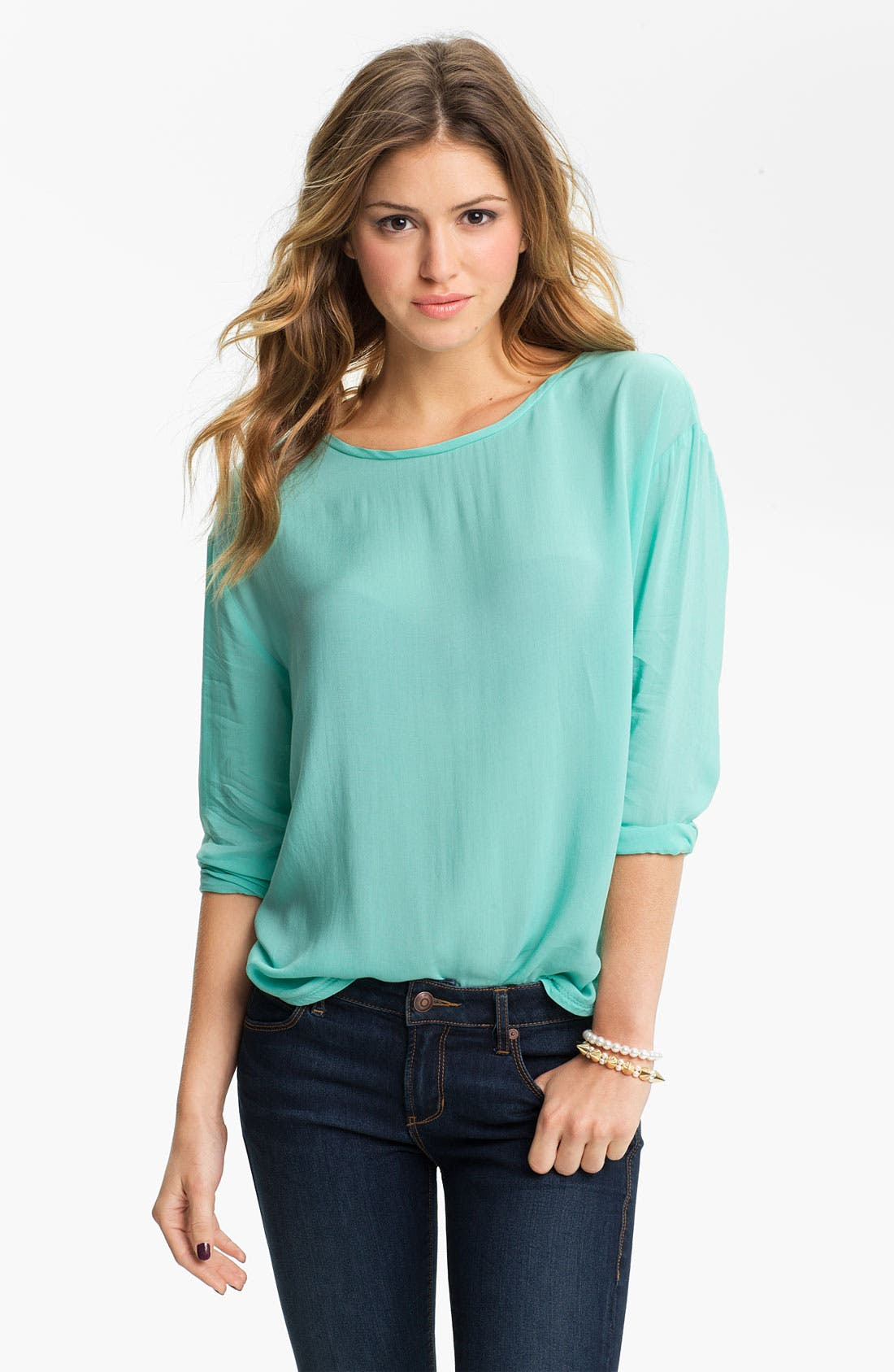 Alternate Image 1 Selected - Rubbish® Relaxed Woven Top (Juniors)