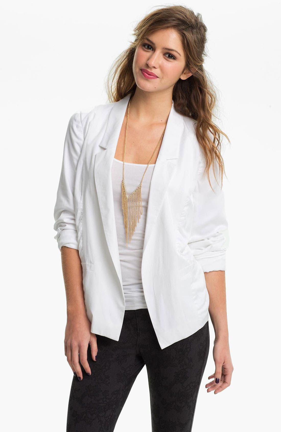Alternate Image 1 Selected - Frenchi® Open Front Slouchy Blazer (Juniors)