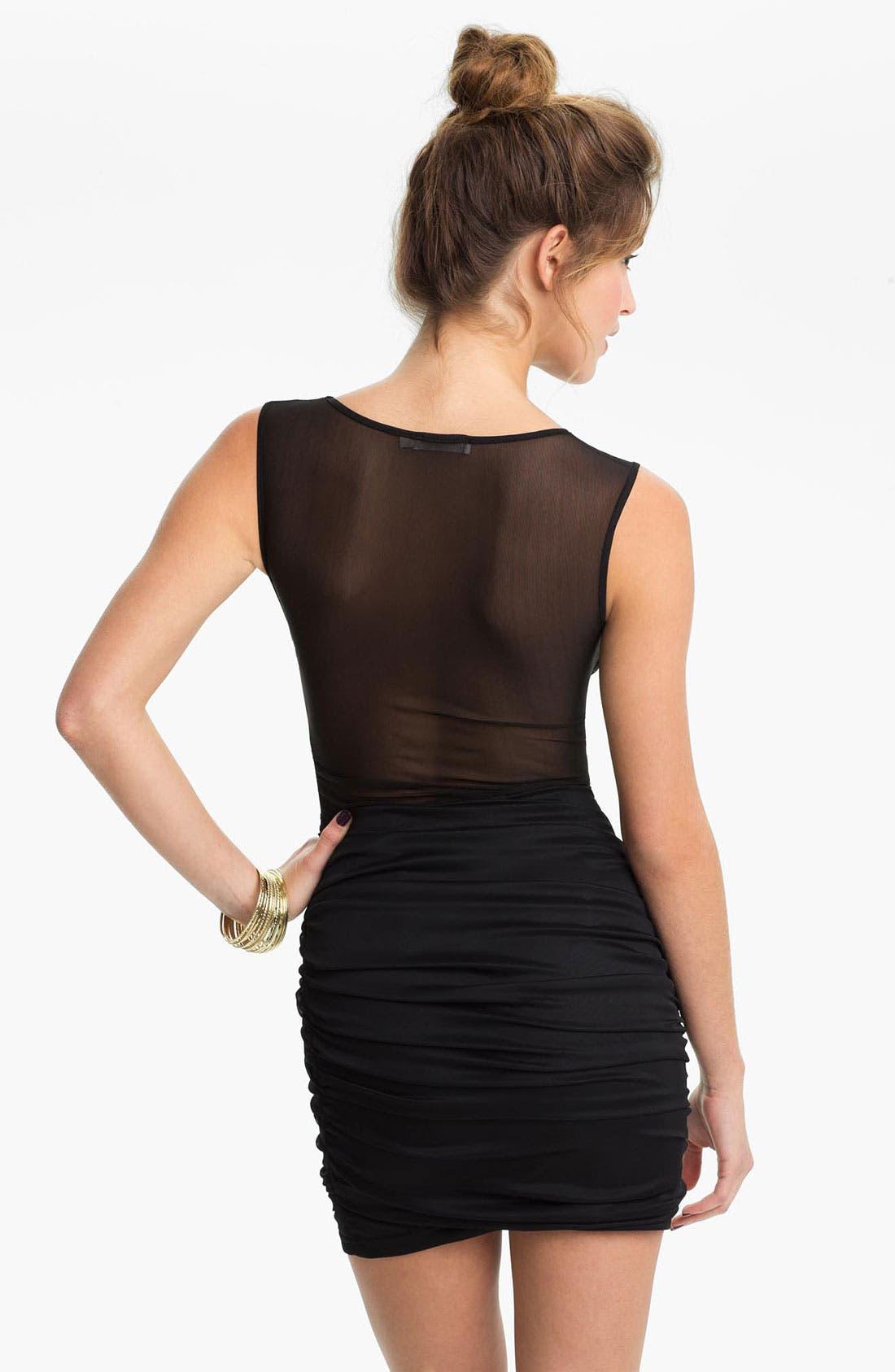 Alternate Image 2  - Lush Mesh Panel Body-Con Dress (Juniors)