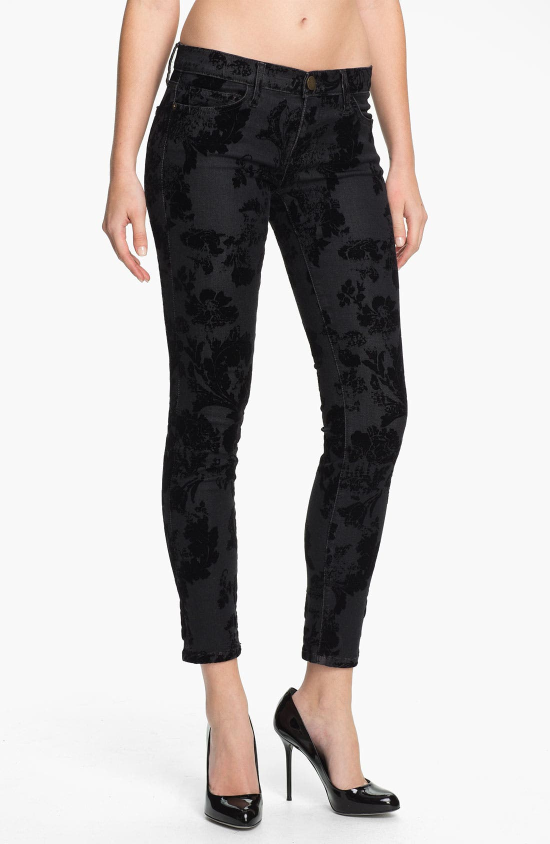 Alternate Image 1 Selected - Current/Elliott Ankle Zip Skinny Jeans (Black Velvet Floral)