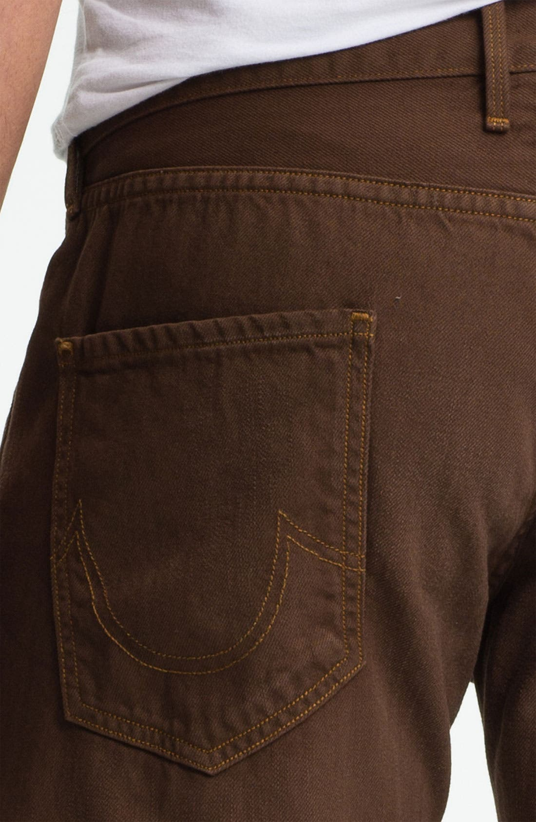 Alternate Image 4  - True Religion Brand Jeans 'Geno Blue Collar Crossroads' Slim Straight Leg Jeans (Kona Brown)