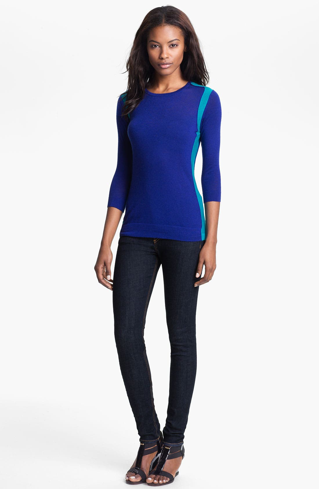Alternate Image 1 Selected - autumn cashmere Colorblock Crewneck Sweater