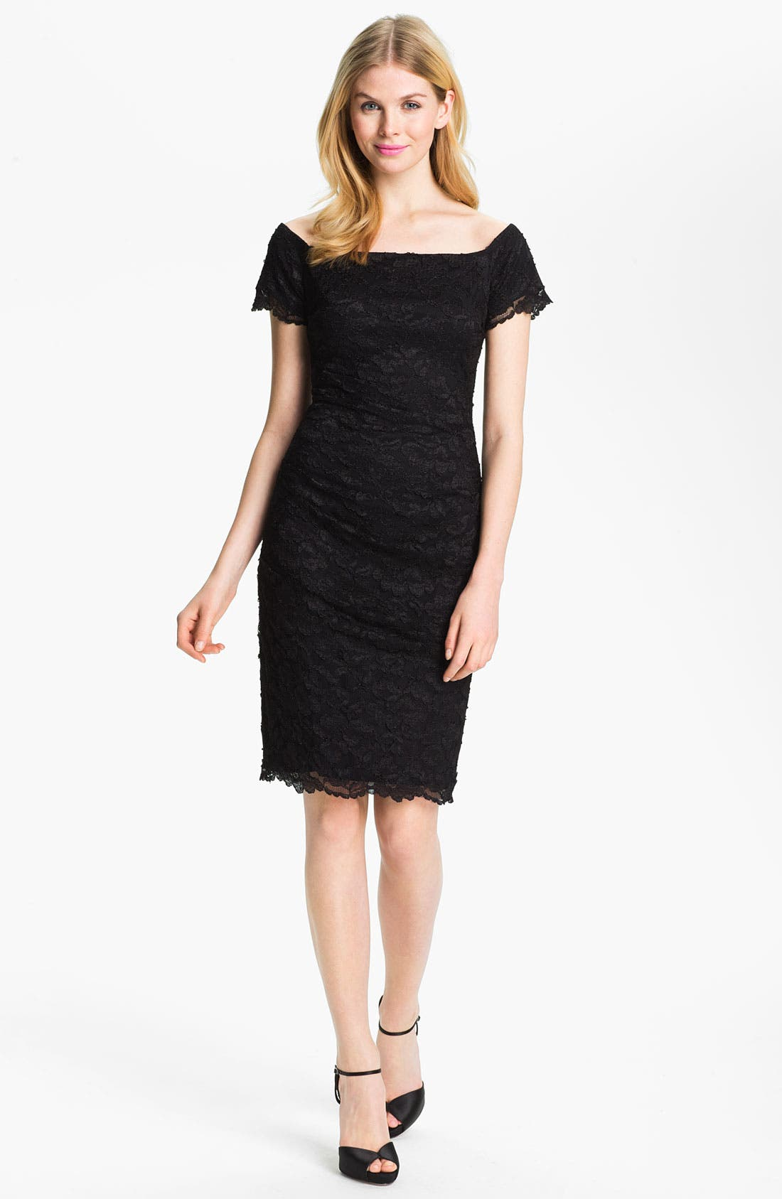 Main Image - Betsy & Adam Square Neck Lace Overlay Sheath Dress