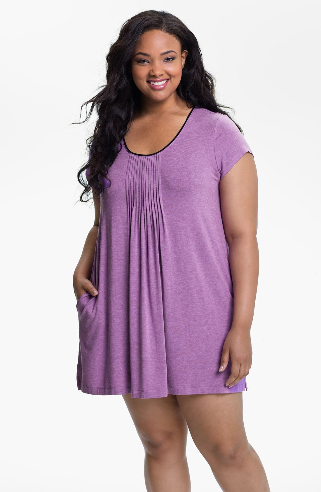 Alternate Image 1 Selected - DKNY '7 Easy Pieces' Pintuck Short Sleeve Nightshirt (Plus Size)