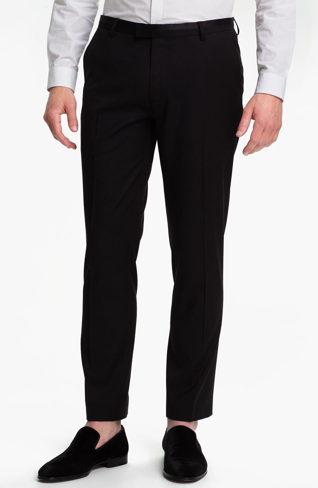 Main Image - Topman Black Satin Trim Trousers
