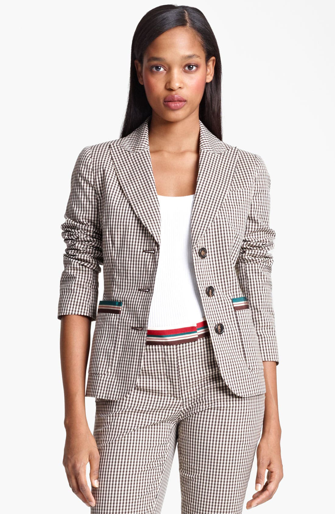 Alternate Image 1 Selected - Moschino Cheap & Chic Three Button Gingham Blazer