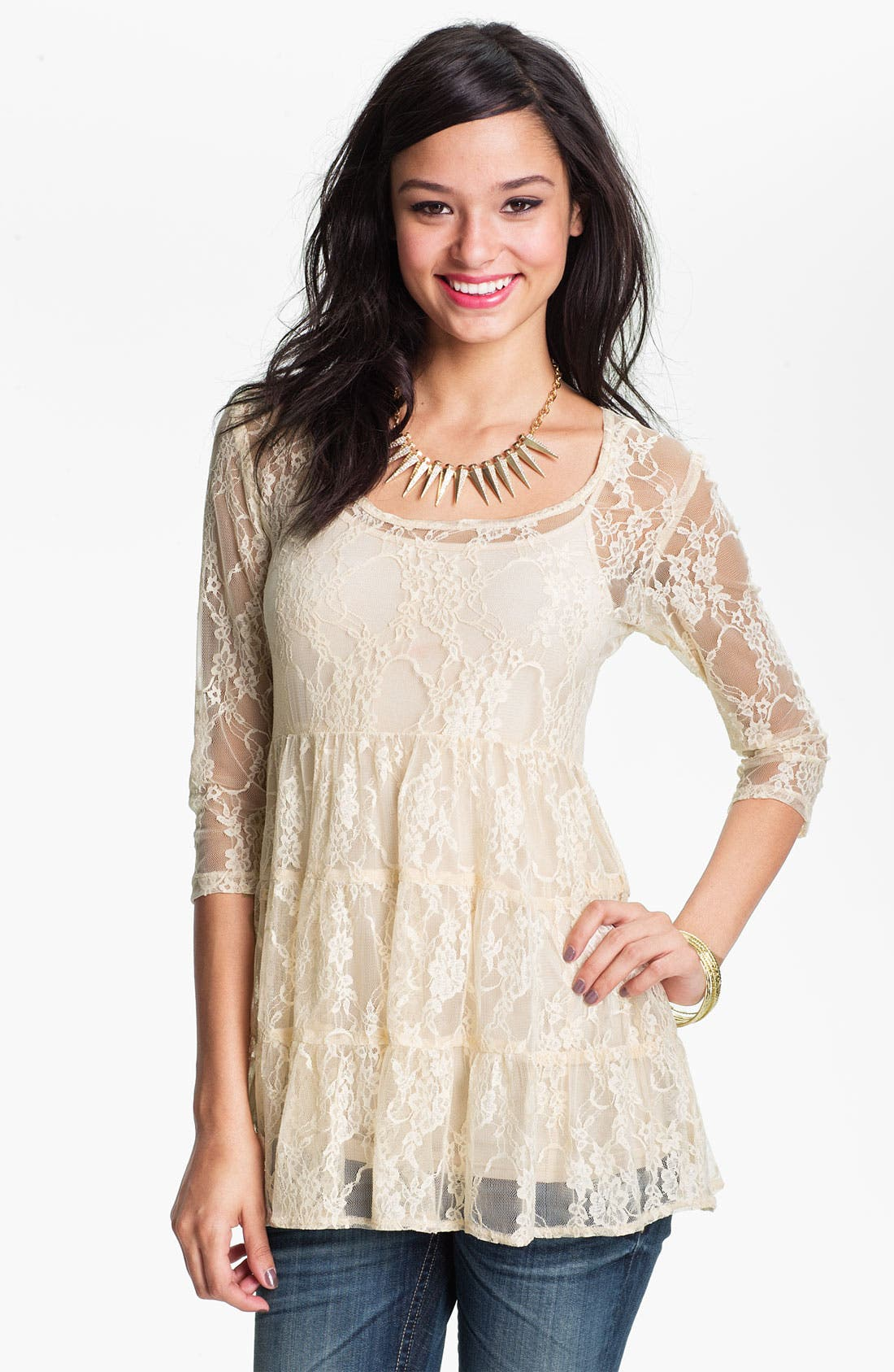Main Image - Love Squared Tiered Lace Babydoll Top (Juniors)