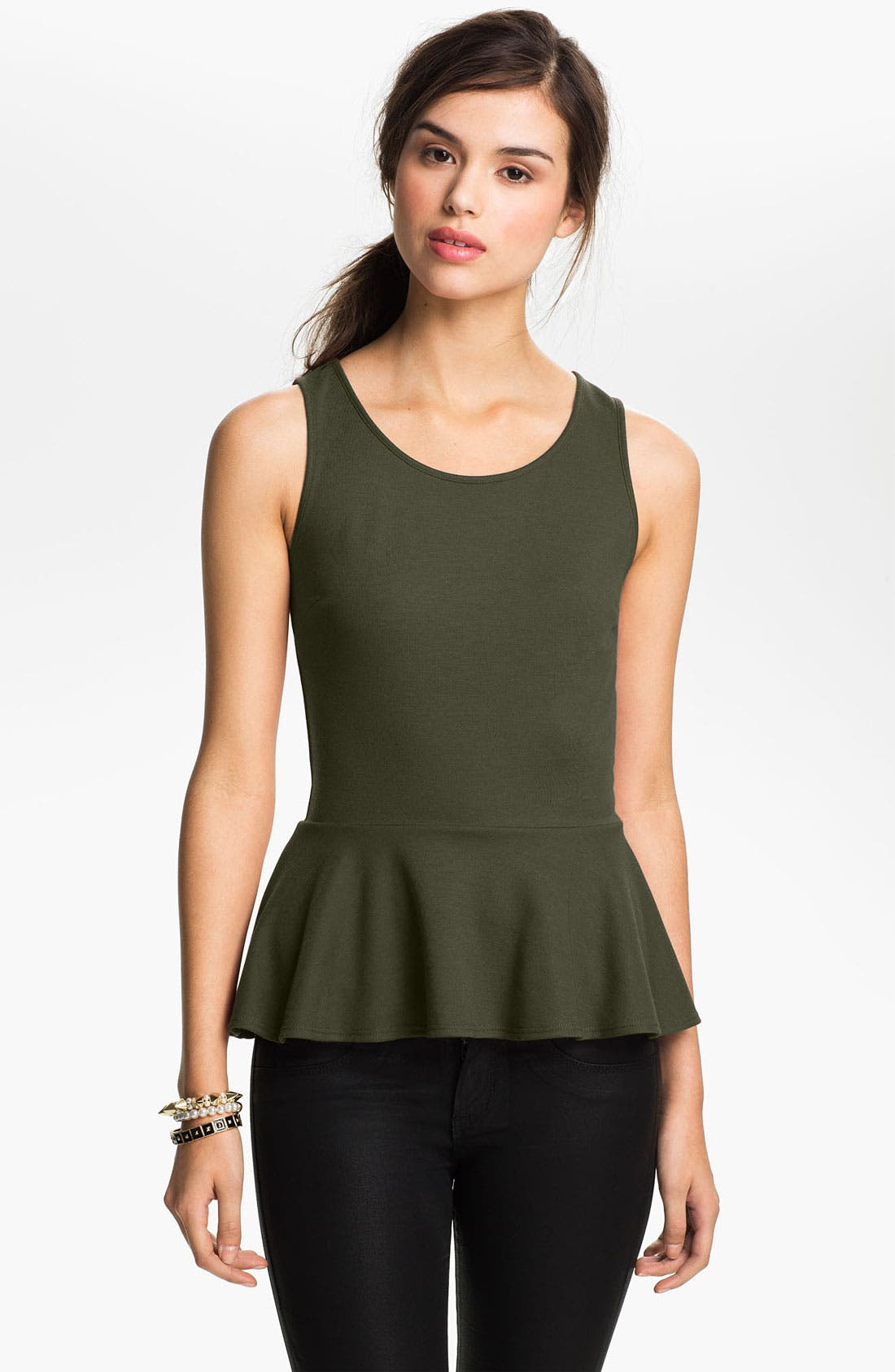 Alternate Image 1 Selected - Soprano Ponte Knit Peplum Top (Juniors)