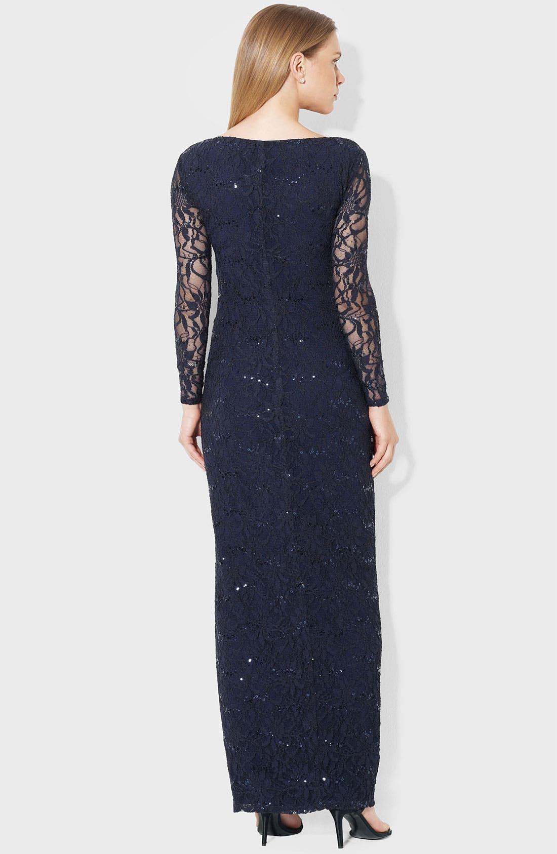 Alternate Image 2  - Lauren Ralph Lauren Illusion Sleeve Lace Gown