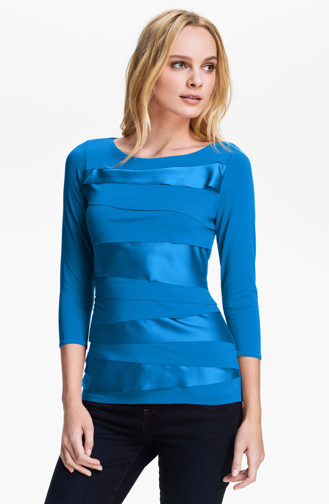 Alternate Image 1 Selected - Vince Camuto Mix Media Zigzag Top
