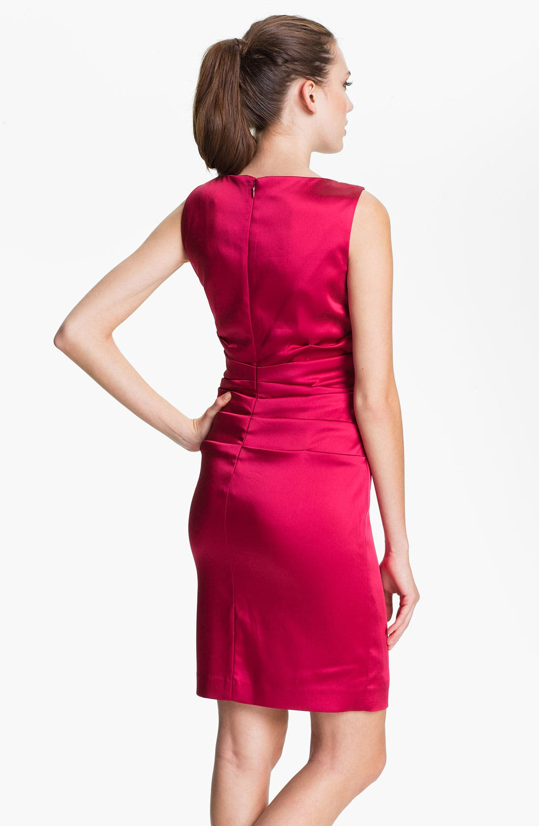 Alternate Image 2  - Calvin Klein V-Neck Ruched Satin Sheath Dress