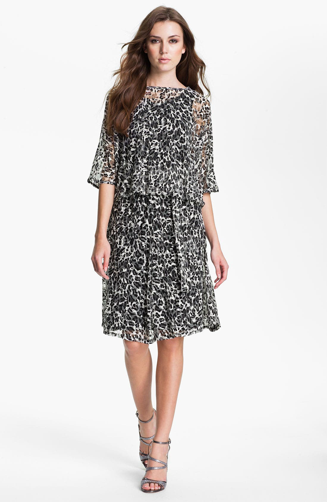 Main Image - Lizzie Parker 'Anne' Sheer Sleeve Printed Blouson Dress