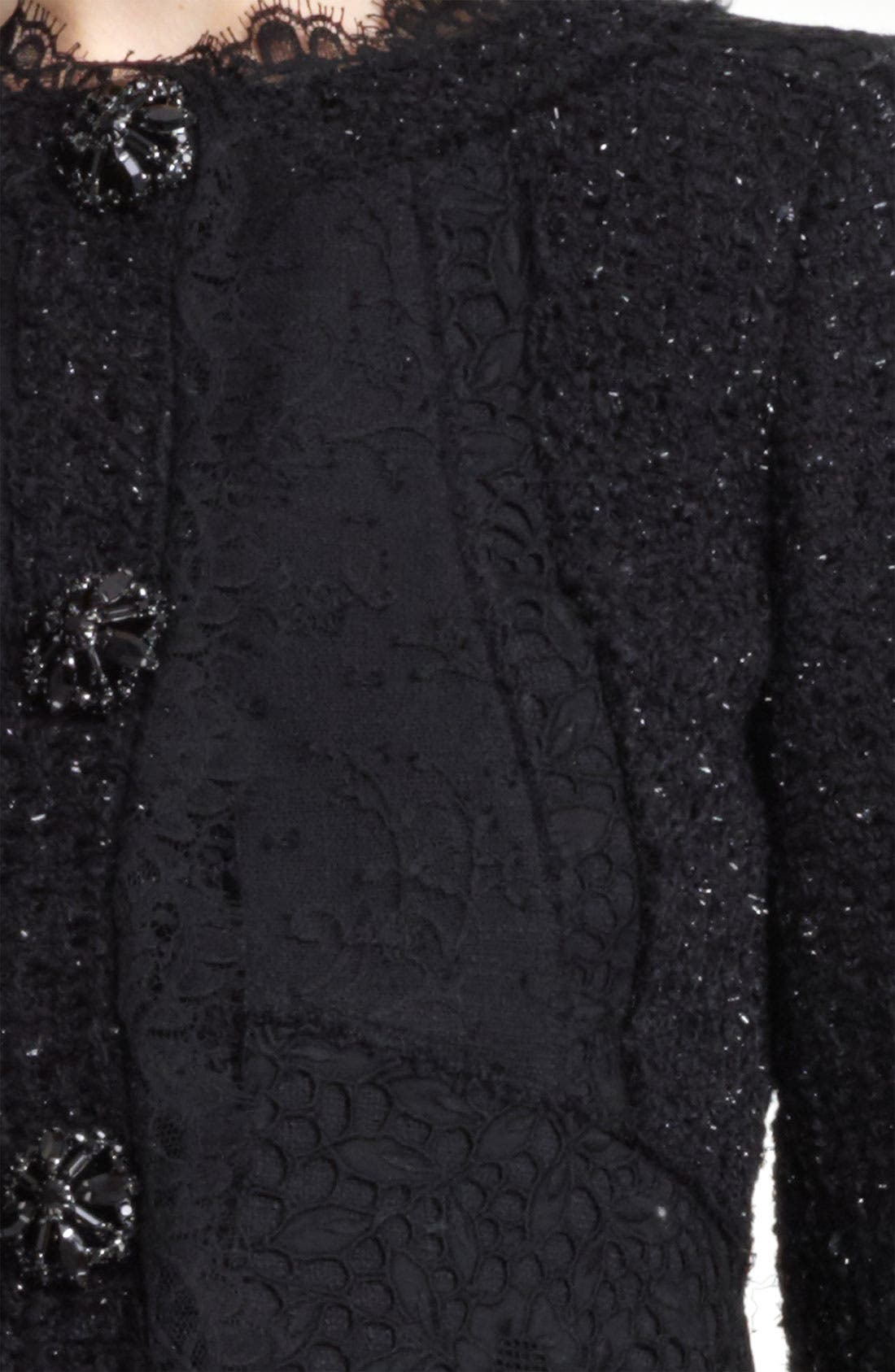 Alternate Image 5  - Oscar de la Renta Lace & Tweed Jacket