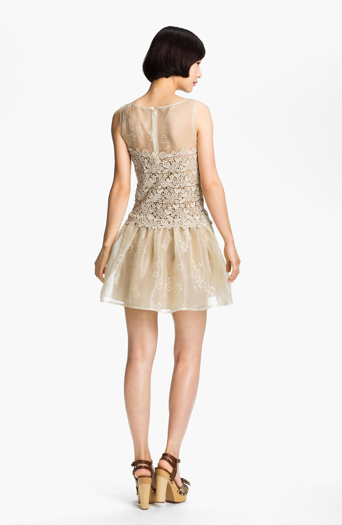 Alternate Image 2  - RED Valentino Organza & Macramé Lace Frock